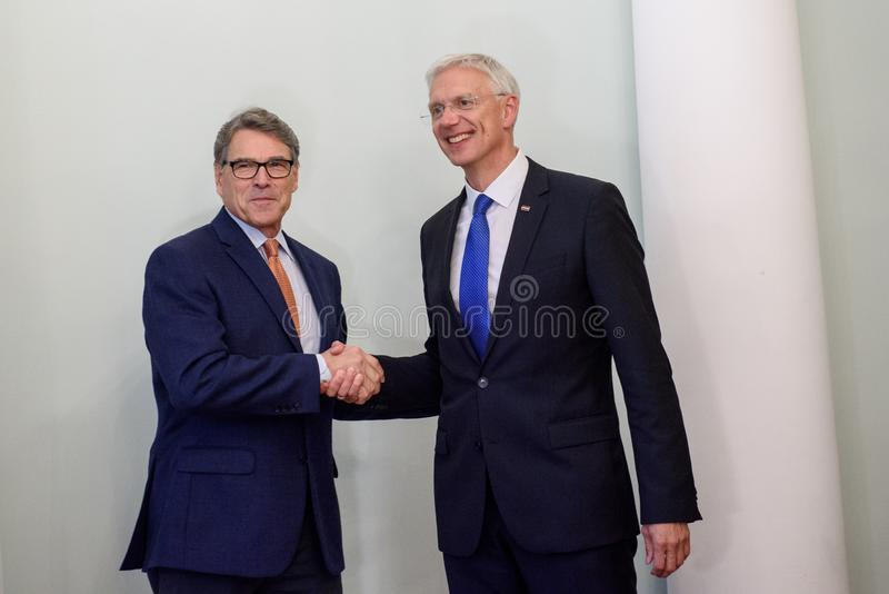 Rick Perry L United States Secretary of Energy and Krisjanis Karins R. RIGA, LATVIA. 8th October, 2019.  Rick Perry L United States Secretary of Energy and royalty free stock image