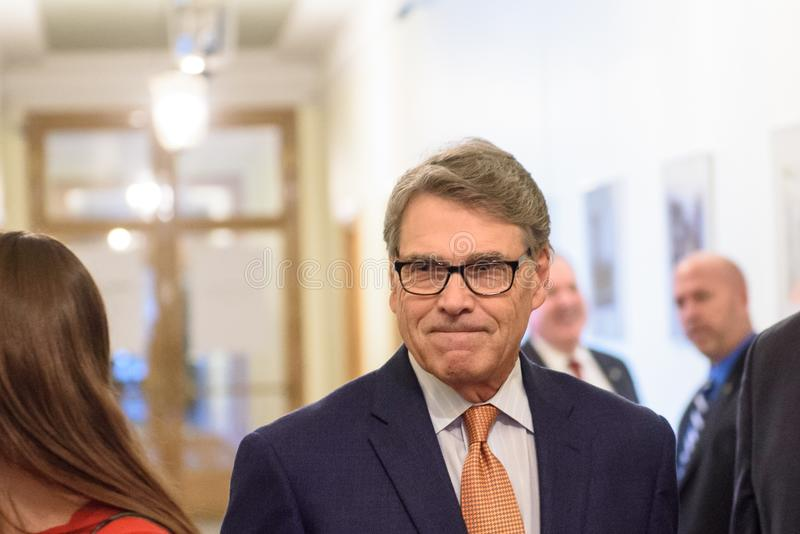 Rick Perry, United States Secretary of Energy. RIGA, LATVIA. 8th October, 2019. Rick Perry, United States Secretary of Energy. arrives to merting with Krisjanis royalty free stock images