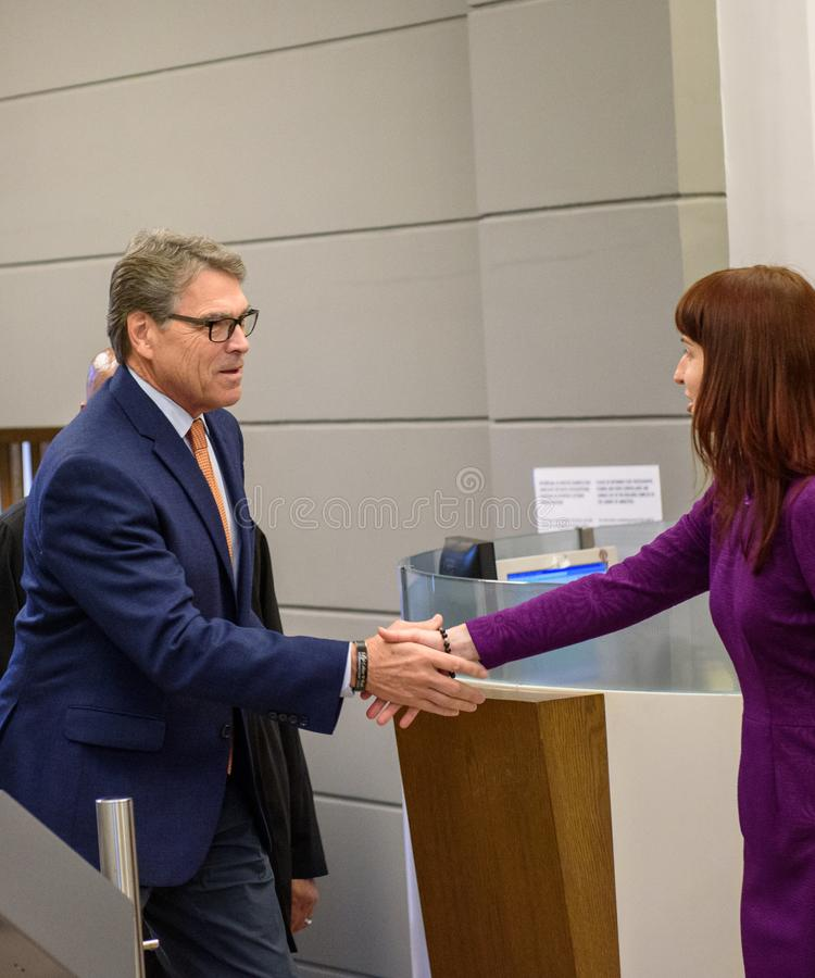 Rick Perry, United States Secretary of Energy. RIGA, LATVIA. 8th October, 2019. Rick Perry, United States Secretary of Energy, arrives to merting with Krisjanis stock photography