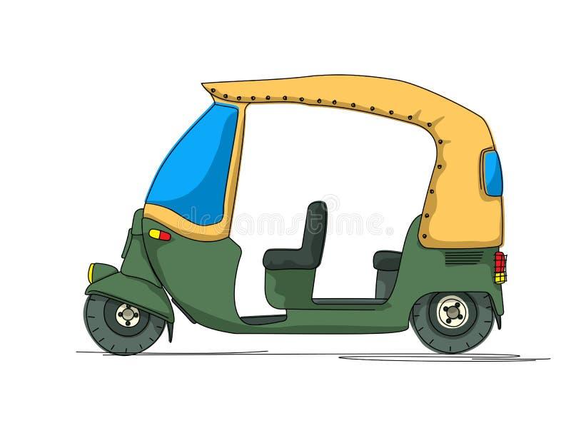 Download Rickshaw cartoon stock vector. Image of motorized, motorcycle - 32051838