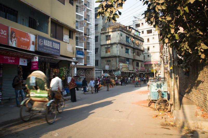 Rickshaw i gatan i Dhaka, Bangladesh royaltyfri bild