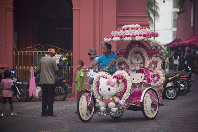 Rickshaw i mitten av Melaka, Malaysia arkivfoto