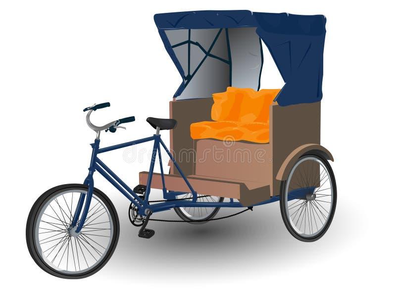 Rickshaw Pulled by Bicycle. Illustration stock illustration