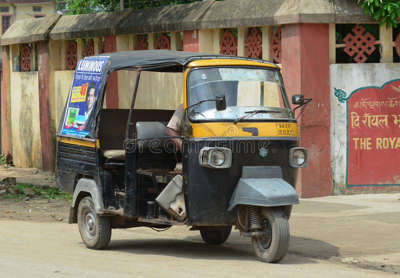Rickshaw three-weeler tuk-tuk on the street in Kolkata royalty free stock images
