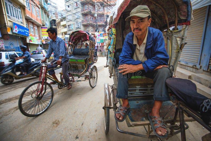Rickshaws driver. On the streets of Kathmandu Nepal