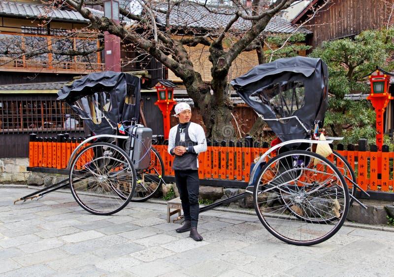 Rickshaws i Gion, Kyoto arkivfoton