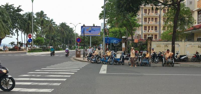 Rickshaws waiting for tourists stock photography