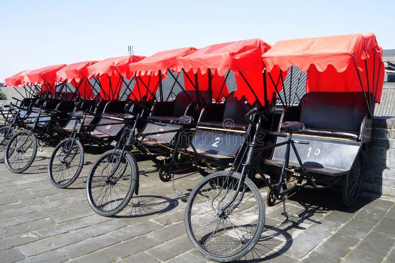 Rickshaws in Xian stock images