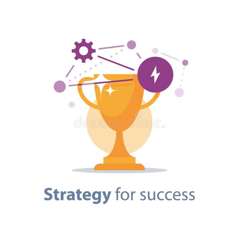 Ricompensi il programma, la tazza dorata, strategia per successo, il premio di vittoria, il trofeo di caccia, la cerimonia di pre illustrazione vettoriale