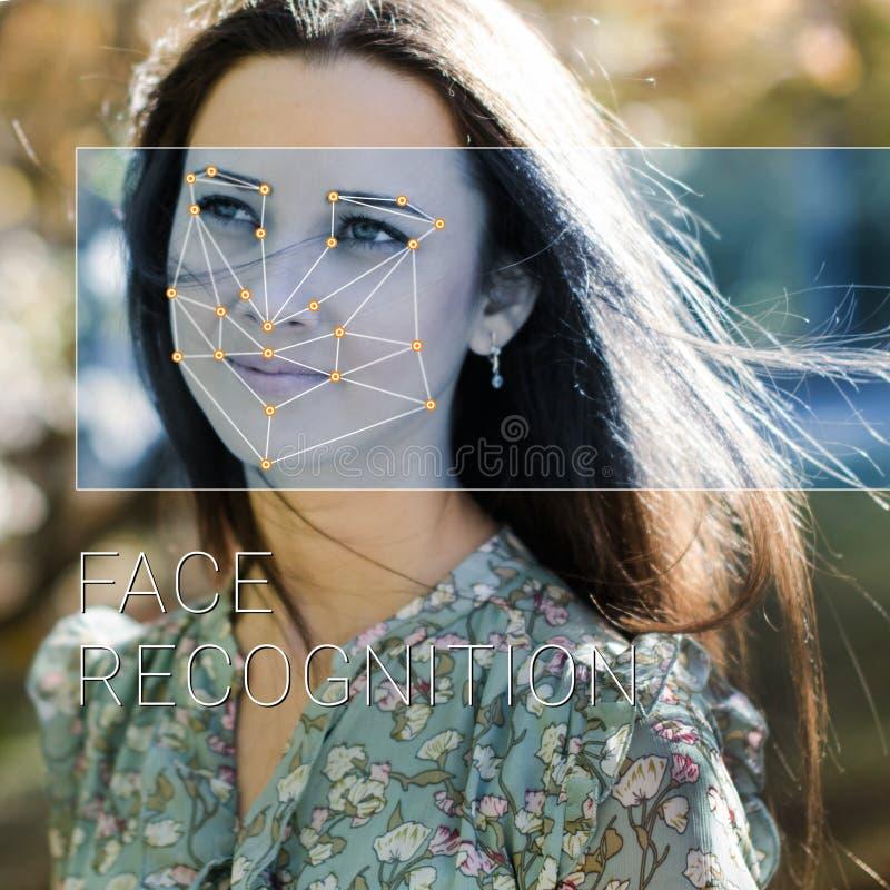 Riconoscimento del fronte femminile Verifica ed identificazione biometriche fotografia stock