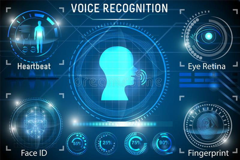 Riconoscimento della voce Identificazione biometrica della persona Impronta digitale di identificazione del fronte royalty illustrazione gratis