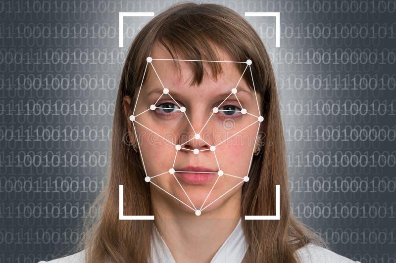 Riconoscimento di fronte della donna - verifica biometrica immagine stock libera da diritti