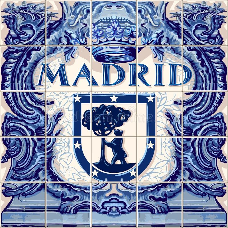 Ricordo del blu di vettore delle piastrelle di ceramica di Madrid illustrazione vettoriale