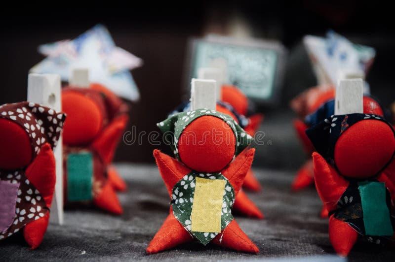 Ricordo famoso della bambola giapponese di Sarubobo di Takayama, Gifu immagine stock
