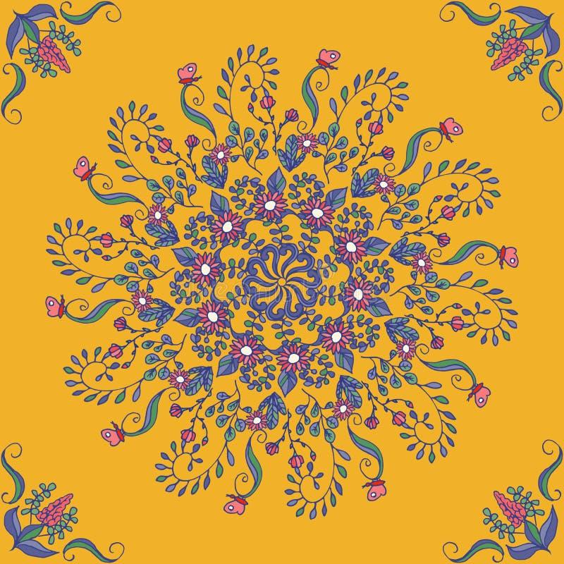 Ricos con colores saturados, ornamento medieval hermoso Estampado de flores inconsútil de elementos florales circulares Vector ilustración del vector