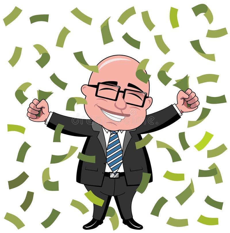 Ricos de Bald Cartoon Money del hombre de negocios libre illustration