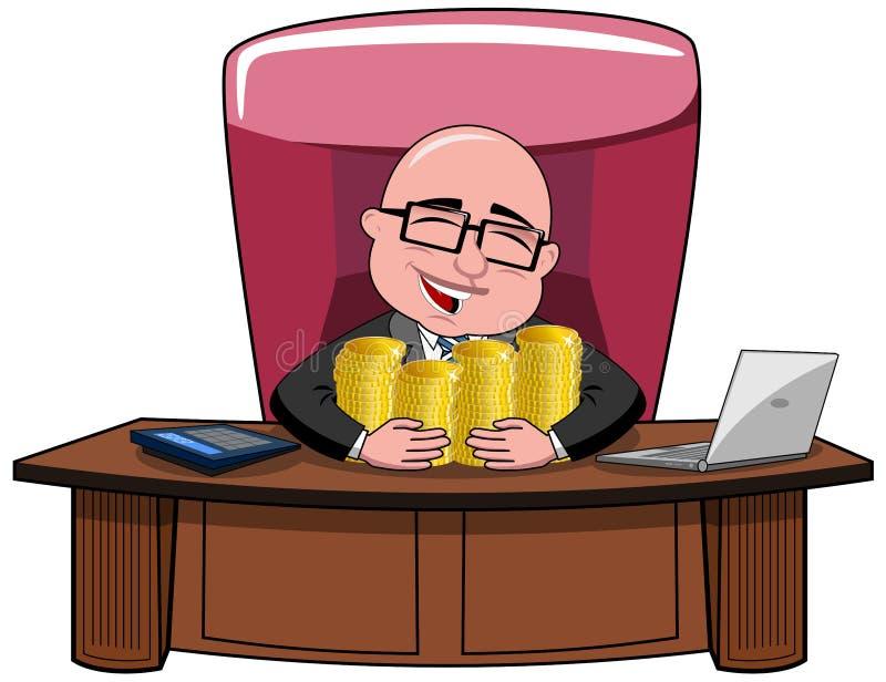 Ricos del dinero de Bald Cartoon Boss del hombre de negocios stock de ilustración