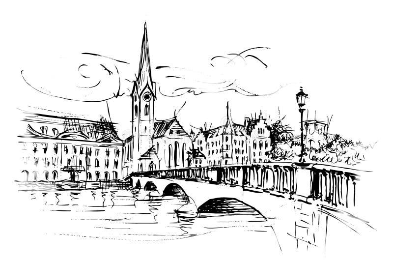 Ricos do ¼ de ZÃ, de ¼ de Fraumà igreja do nster e ponte ilustração do vetor