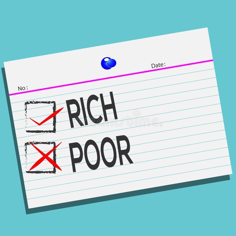 RICOS o pobres en el papel con el diseño creativo para su tarjeta de felicitaciones, stock de ilustración