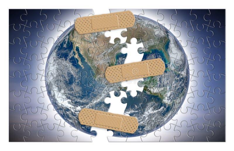Ricostruisca il nostro mondo - immagine di concetto con gli elementi dalla NASA nella forma del puzzle fotografia stock