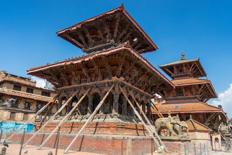 Ricostruzione del tempio di Vishwanath al quadrato dubar di Patan, Kathmand immagini stock libere da diritti