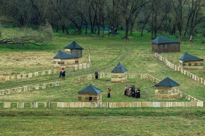 Ricostruzione della battaglia delle truppe russe e napoleoniche vicino alla città russa Maloyaroslavets del 23 ottobre 2016 immagine stock libera da diritti