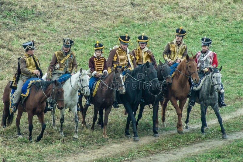 Ricostruzione della battaglia delle truppe russe e napoleoniche vicino alla città russa Maloyaroslavets del 23 ottobre 2016 fotografia stock