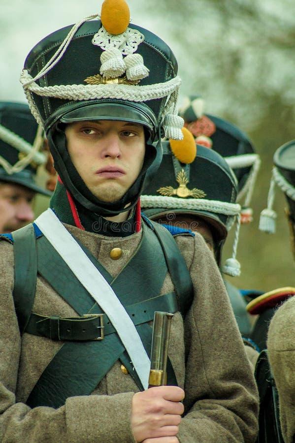 Ricostruzione della battaglia delle truppe russe e napoleoniche vicino alla città russa Maloyaroslavets del 23 ottobre 2016 immagini stock