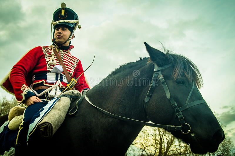 Ricostruzione della battaglia delle truppe russe e napoleoniche vicino alla città russa Maloyaroslavets del 23 ottobre 2016 fotografia stock libera da diritti