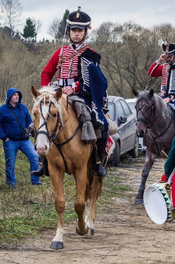 Ricostruzione della battaglia delle truppe russe e napoleoniche vicino alla città russa Maloyaroslavets del 23 ottobre 2016 immagine stock