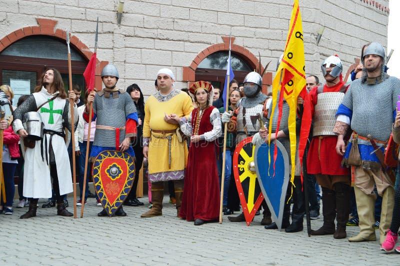 Ricostruzione storica dei costumi bulgari medievali fotografie stock libere da diritti