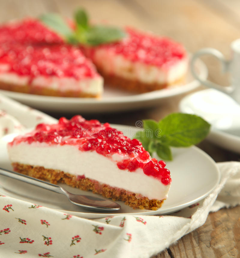 Ricotta cheese cake. Ricotta cheese cake with raspberry sause royalty free stock image