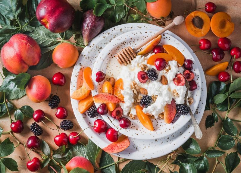 Ricotta cheese or cottage cheese with fruits. royalty free stock photography