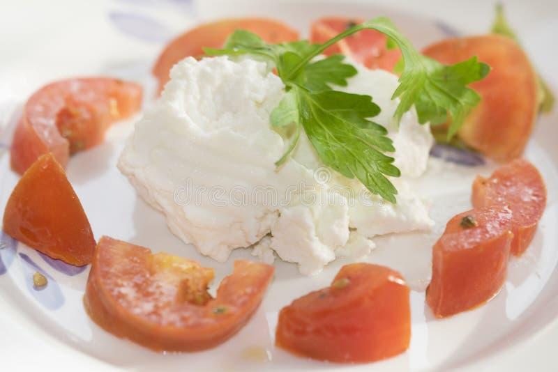 Ricotta en tomaten royalty-vrije stock foto's