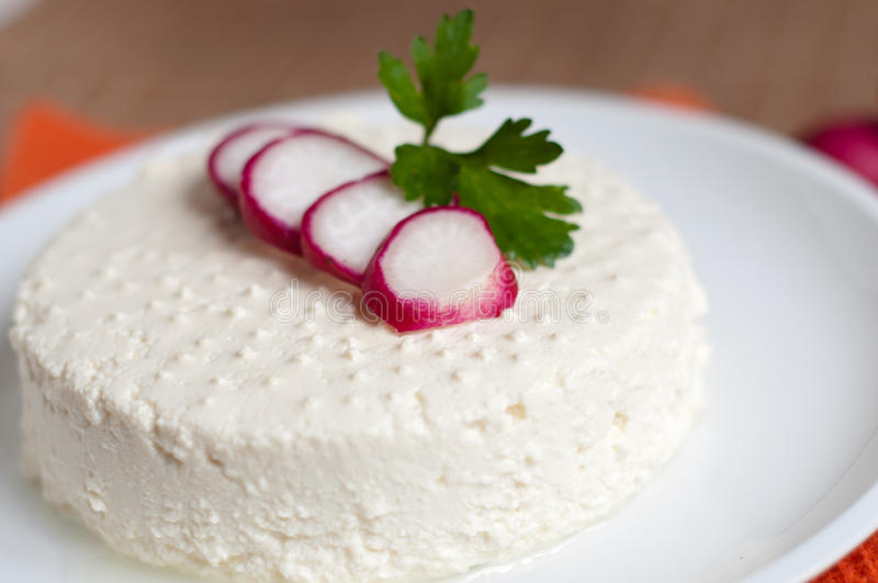 Ricotta. Fresh homemade ricotta and red radishes on a white dish stock photography