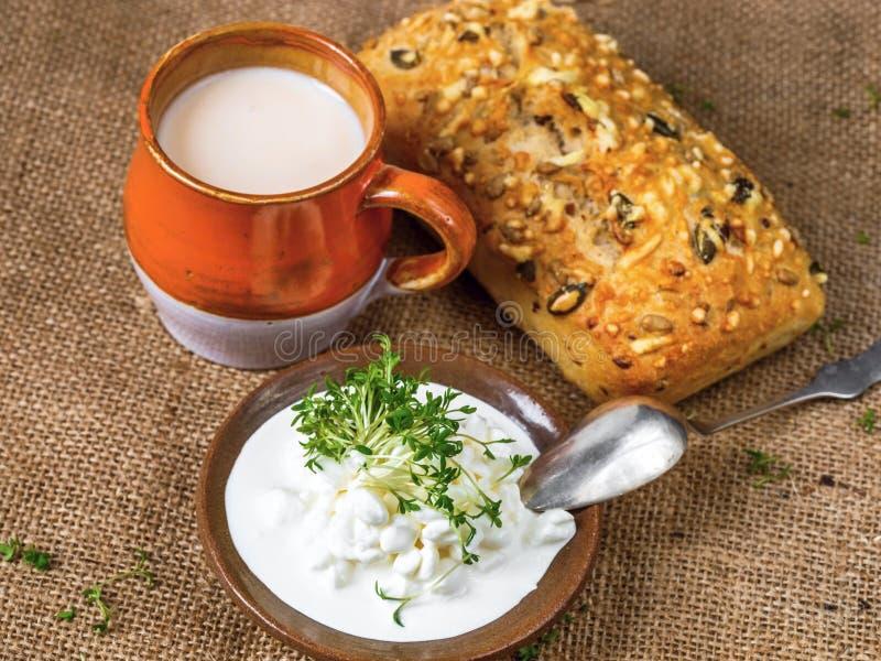 Ricotta, latte fermentato, panino del cereale fotografia stock