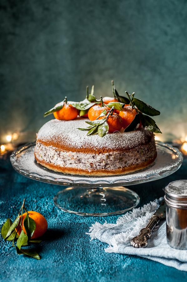 Ricotta Tangerine Cake. Ricotta, Pistachio, Chocolate and Tangerine Cake, copy space for your text stock photos