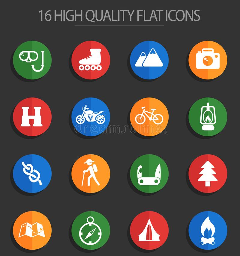 Ricreazione attiva 16 icone piane illustrazione di stock