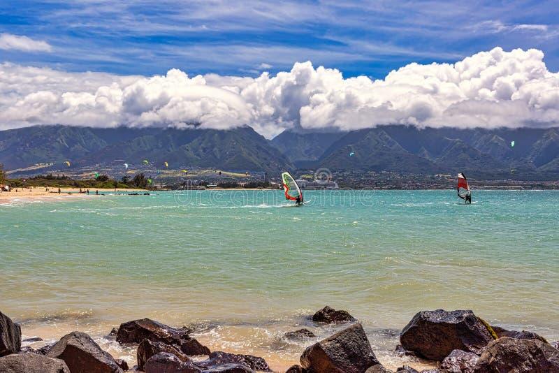 Ricreazione d'acqua al largo delle coste del Maui fotografia stock