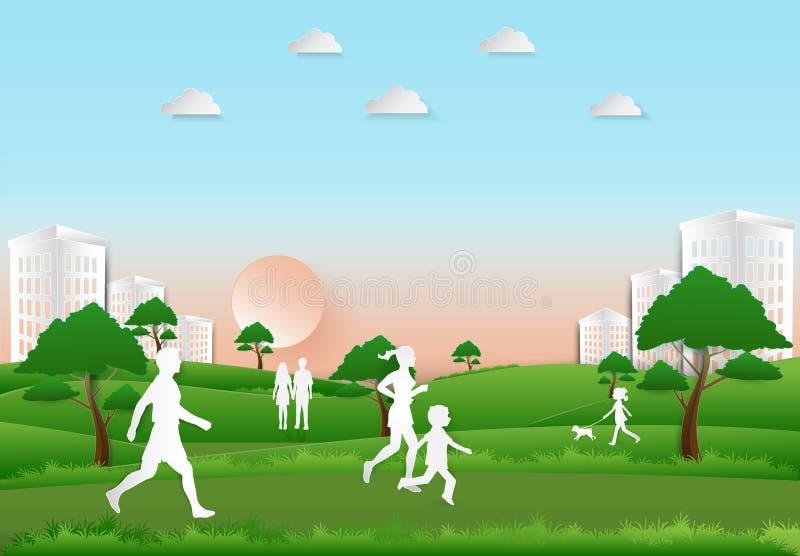 Ricreazione ed esercizio della gente nel parco sul fondo di tramonto, illustrazione di stock