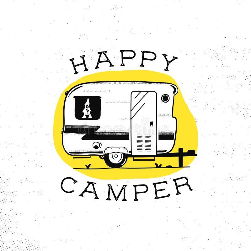 Ricreazione mobile Rimorchio di campeggiatore felice nello stile della siluetta di schizzo Campo disegnato a mano d'annata rv Cam illustrazione vettoriale