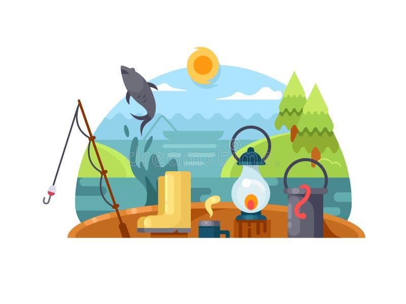 Ricreazione su pesca royalty illustrazione gratis