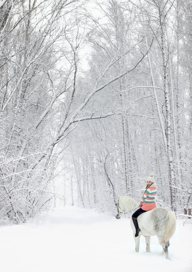 Rid- flicka som rider hennes andalusian häst till och med snö på vintermorgonen royaltyfri fotografi