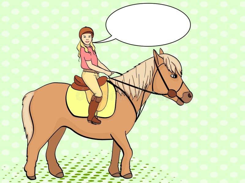 Rid- sport för barn Isolerat på bakgrund för popkonst Vektor Illustratio Humorbokstilefterföljd, text royaltyfri illustrationer