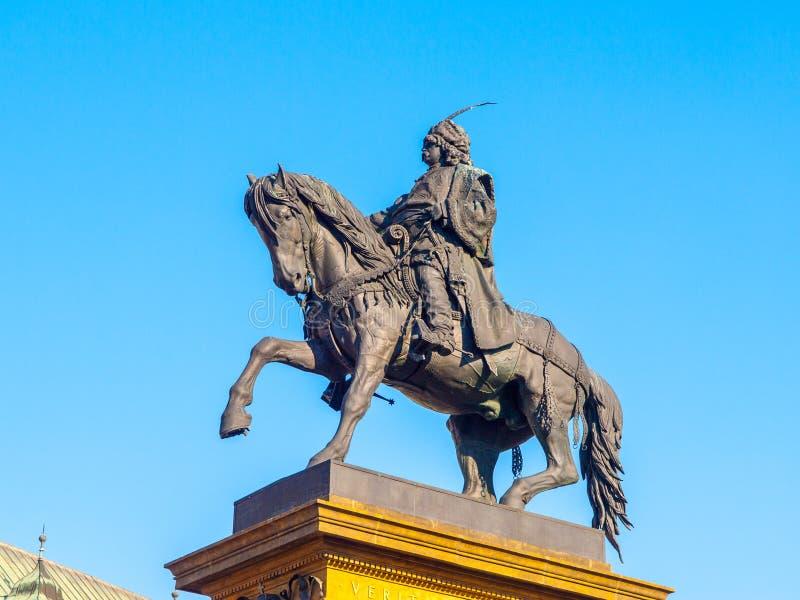 Rid- staty av George av Podebrady, Jiri z Podebrad, i Podebrady, Tjeckien royaltyfria bilder