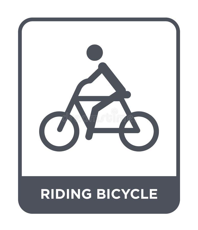 rida cykelsymbolen i moderiktig designstil rida cykelsymbolen som isoleras på vit bakgrund rida den enkla cykelvektorsymbolen royaltyfri illustrationer