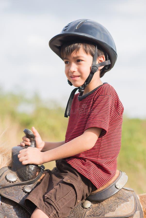 Rida en ponny på en härlig dag royaltyfri foto
