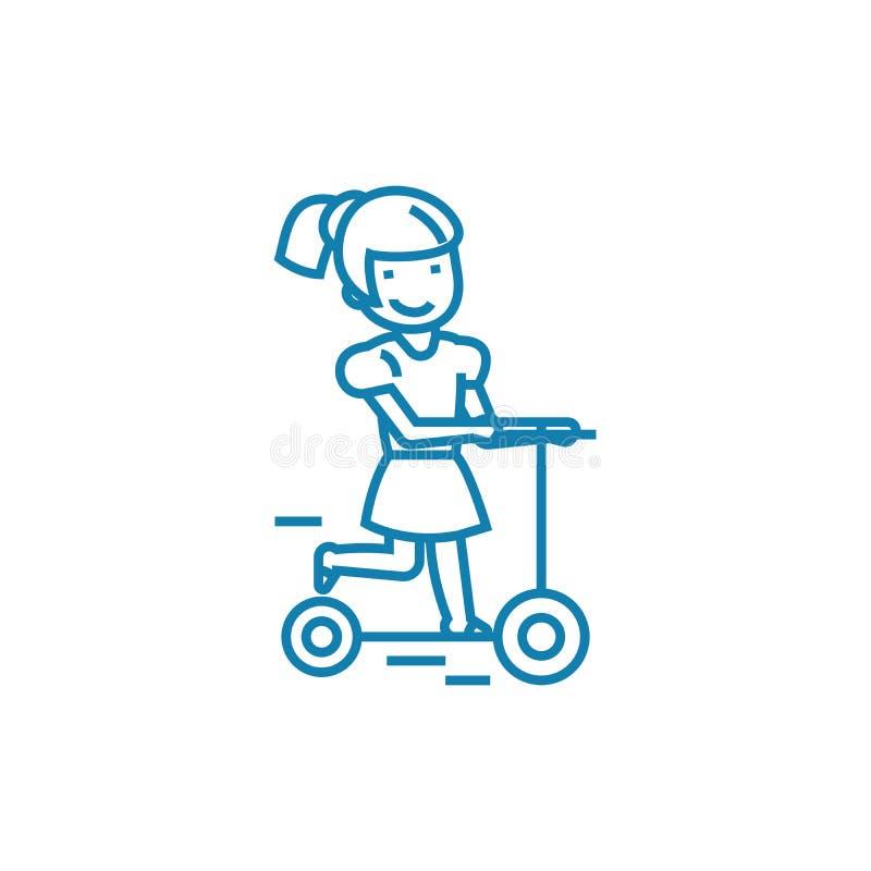 Rida ett linjärt symbolsbegrepp för sparkcykel Rida en sparkcykel fodra vektortecknet, symbolet, illustration stock illustrationer