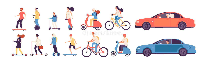 Rida f?r folk Mankvinnan med elektriska medel rider gyroscooter för rullen för cykeln för bilen för skridskon för mopedskateboard vektor illustrationer