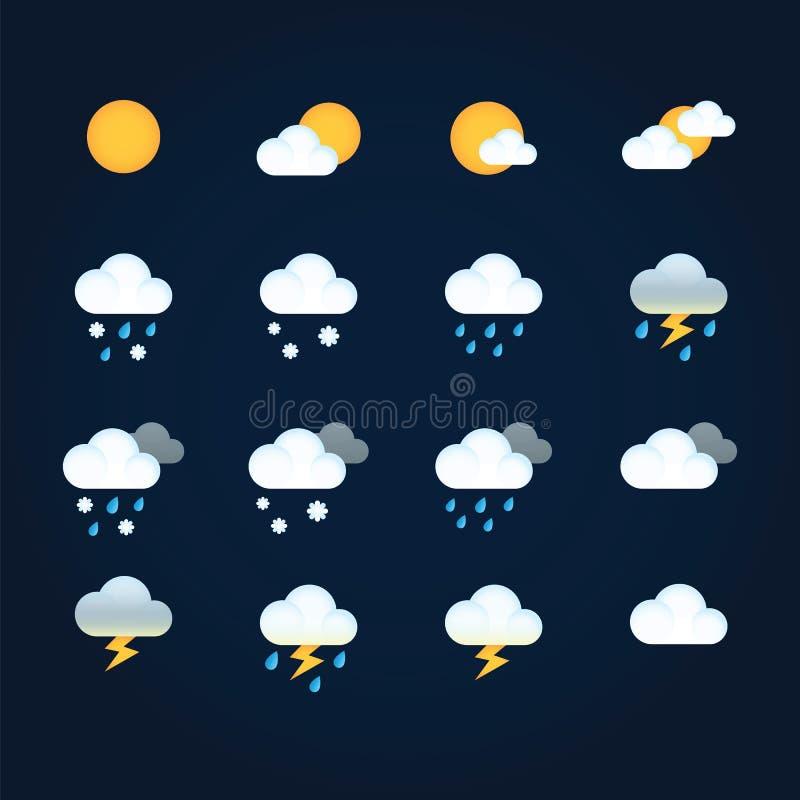 Rida ut symboler sol, och moln i himmel, regnar med snö, åska och blixt Plan vektorväder och meteorologi för vektor illustrationer